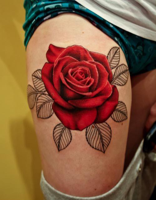 分享一款个性时尚的大腿玫瑰花纹身图案