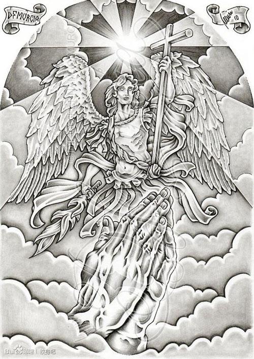 潮流经典的一款黑灰天使纹身手稿