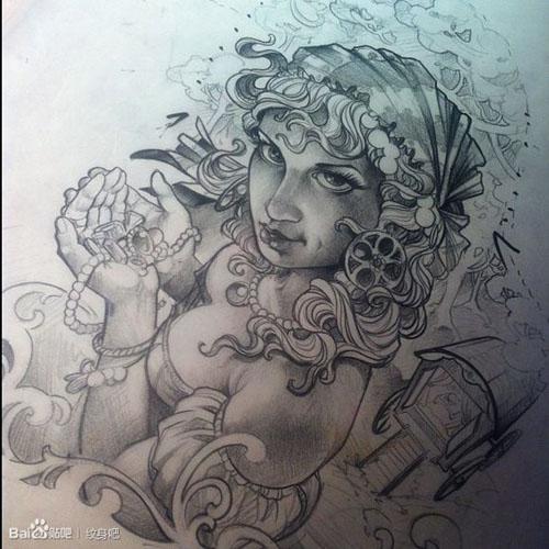 美美女纹身手稿