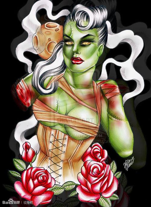 潮流另类的欧美美女纹身手稿