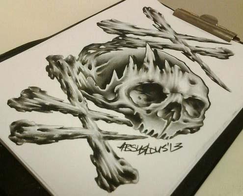 帅气潮流的欧美写实骷髅纹身手稿