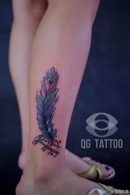 女生腿部流行好看的小天使纹身图片