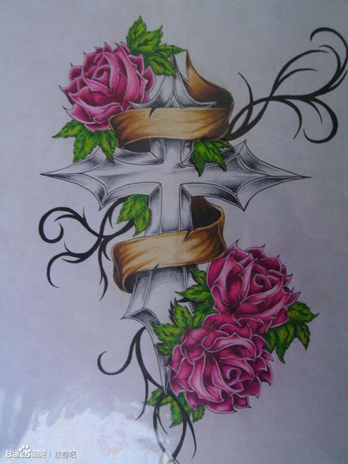 翅膀十字架纹身图案_纹身图案