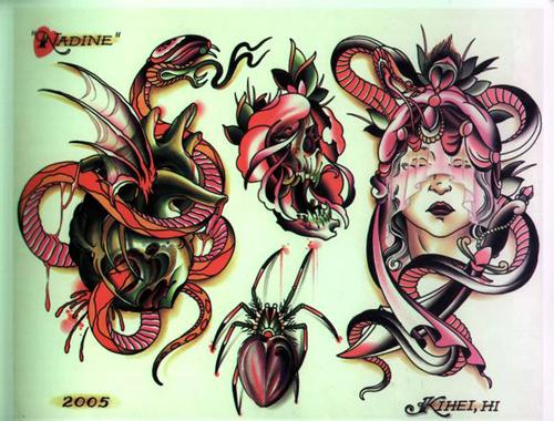 一组经典的蜘蛛与蛇纹身手稿