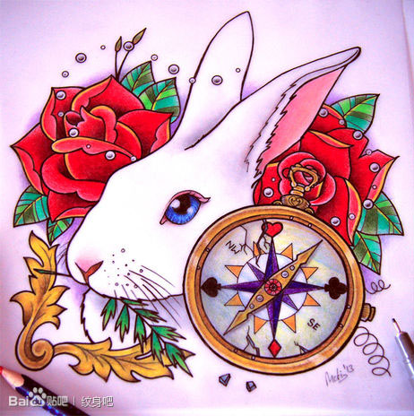 可爱时尚的一款兔子纹身手稿