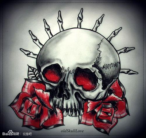 潮流帅气的一款骷髅纹身手稿