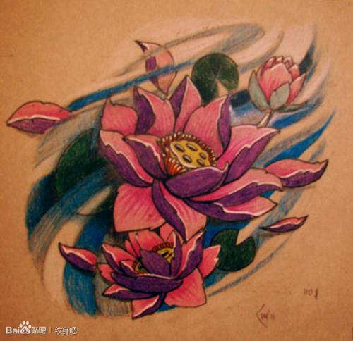 唯美经典的传统莲花纹身手稿图片