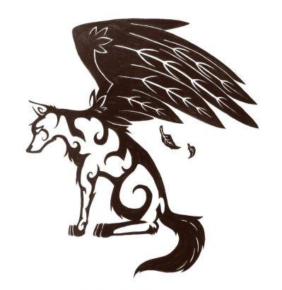 帅气的一款图腾狼纹身图案