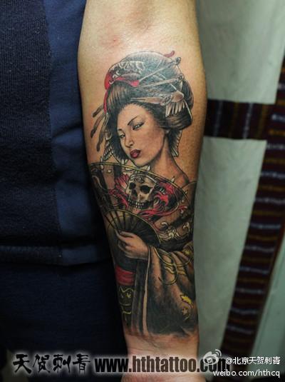 手臂漂亮的美女艺妓纹身图案