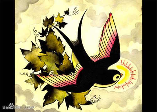 时尚潮流一款小燕子纹身手稿