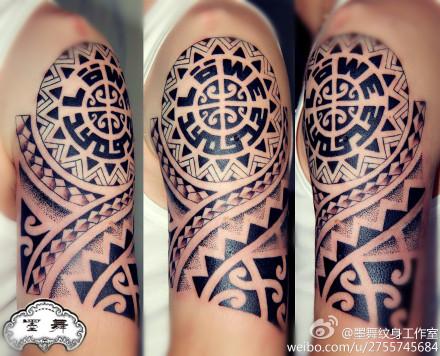 手臂 潮流时尚的玛雅 图腾纹身图案 老兵武汉纹