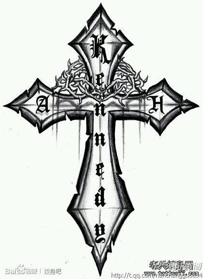 帅的图腾十字架翅膀纹身图案