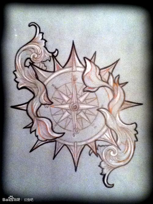 潮流经典的一款指南针纹身手稿