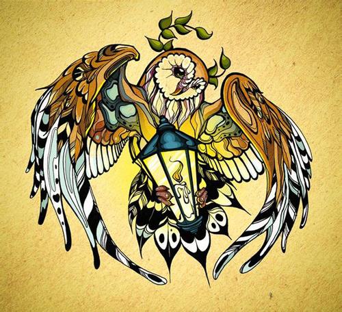 潮流时尚的一款猫头鹰纹身手稿