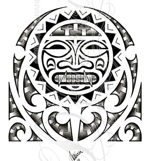 潮流经典的玛雅图腾纹身手稿图片
