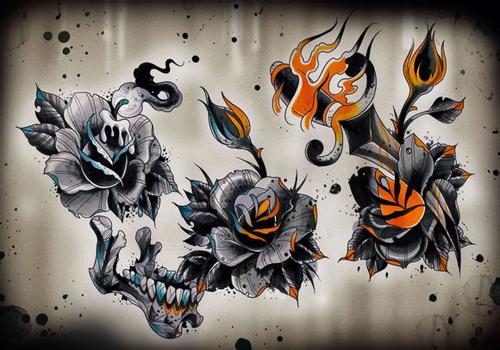 一组精美潮流的玫瑰花纹身手稿_老兵武汉纹身店:武汉