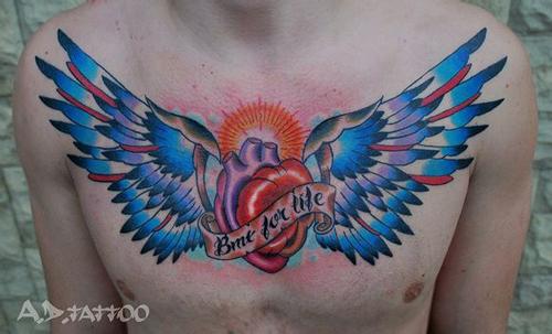 髅与翅膀纹身图案图片