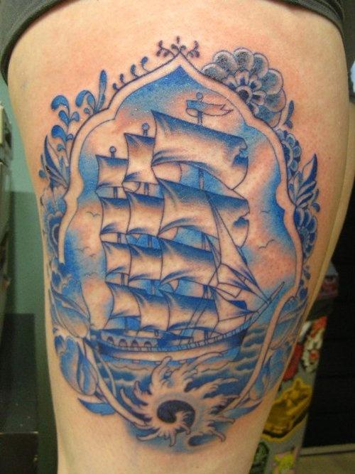 腿部时尚潮流的帆船纹身图案