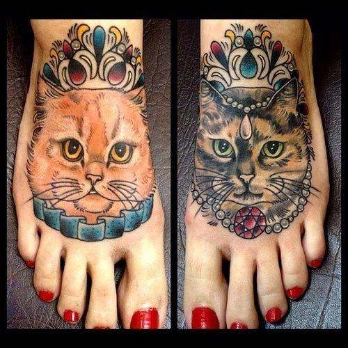 推荐一款潮流时尚的脚背猫咪纹身图案图片