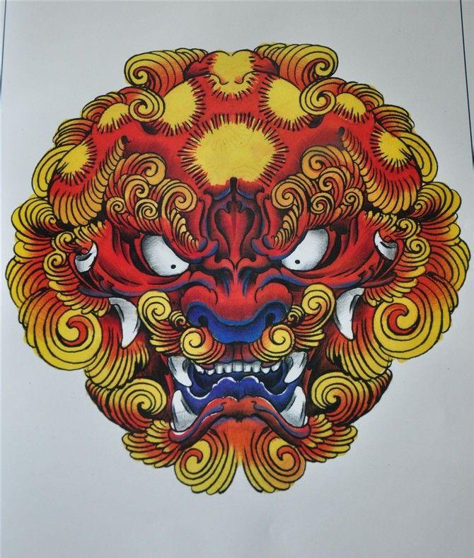 推荐一款霸气时尚的唐狮纹身图案