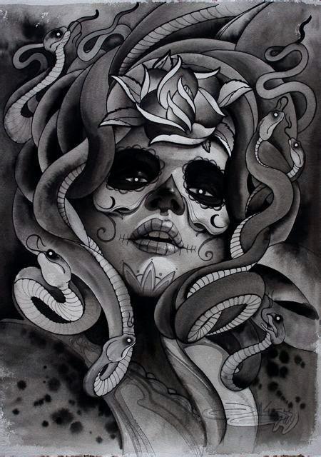 的美杜莎纹身图案