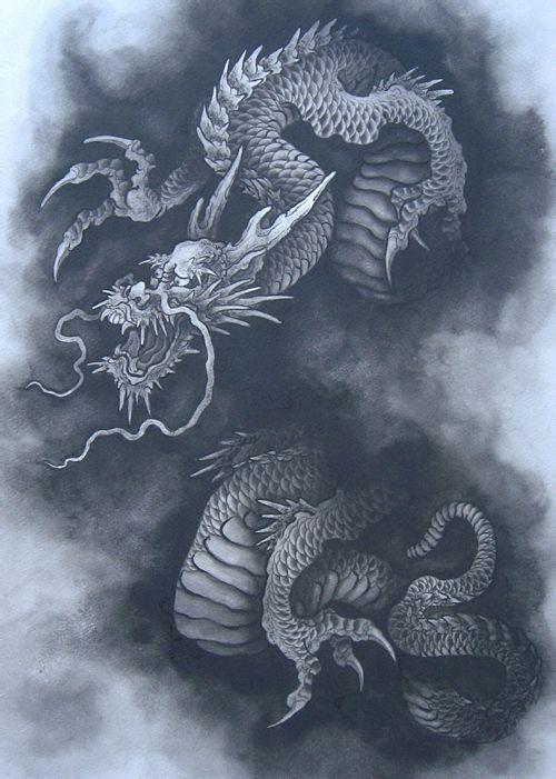 推荐一款霸气个性的龙纹身手稿