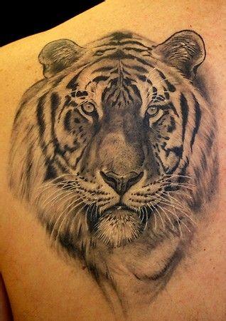 分享一款时尚写实老虎纹身图案