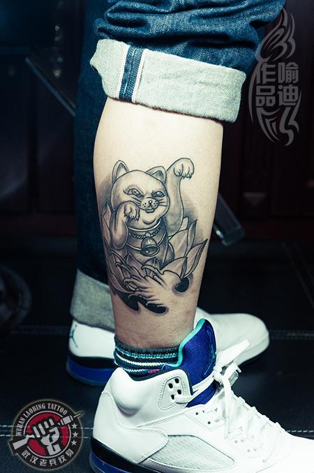 武汉最好纹身店打造的腿部招财猫纹身恢复效果