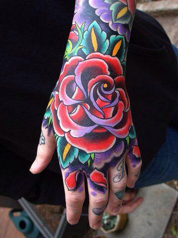 分享一款霸气超酷的手背玫瑰花纹身图案