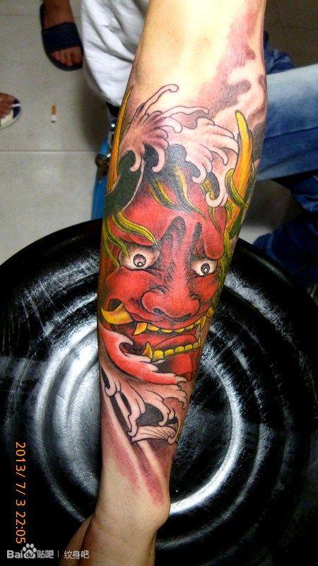 一款小臂时尚潮流的般若纹身图案