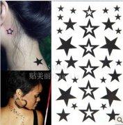 推荐一款时尚小清新个性的耳后五角星纹身图案 日期:2014-01