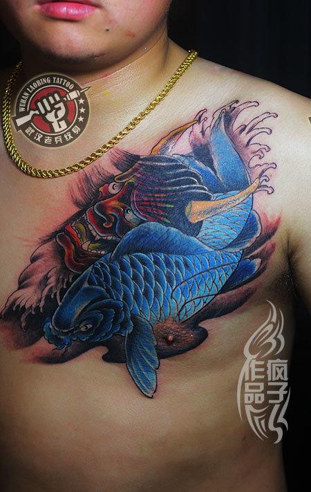 武汉专业纹身店疯子般若鲤鱼纹身图片