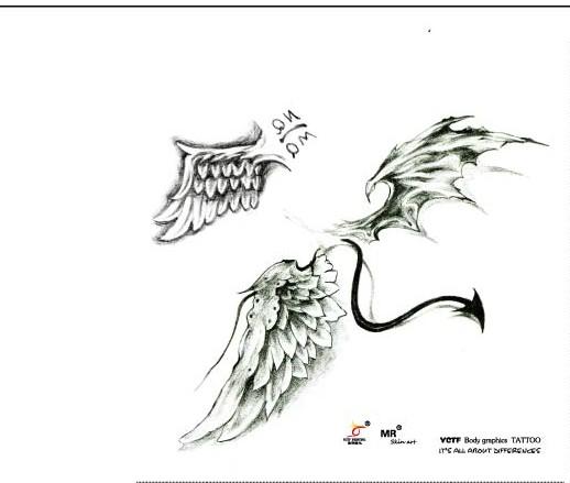 武汉纹身网推荐一款天使翅膀纹身图案
