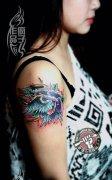武汉最好纹身店打造的手臂遮盖--SCHOOL玫瑰纹身作品
