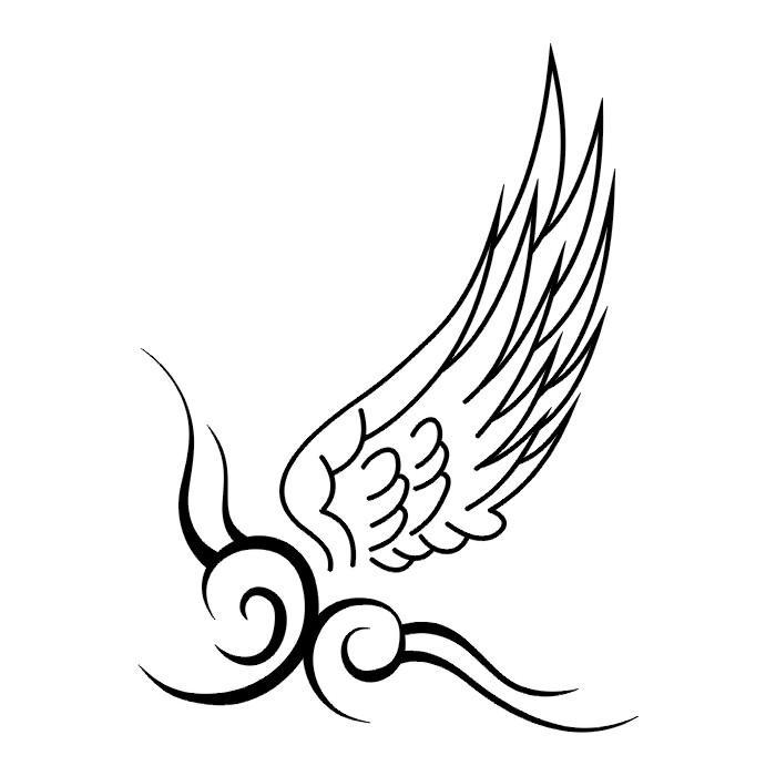 武汉最好的纹身店提供一款天使的翅膀纹身手稿图案图片