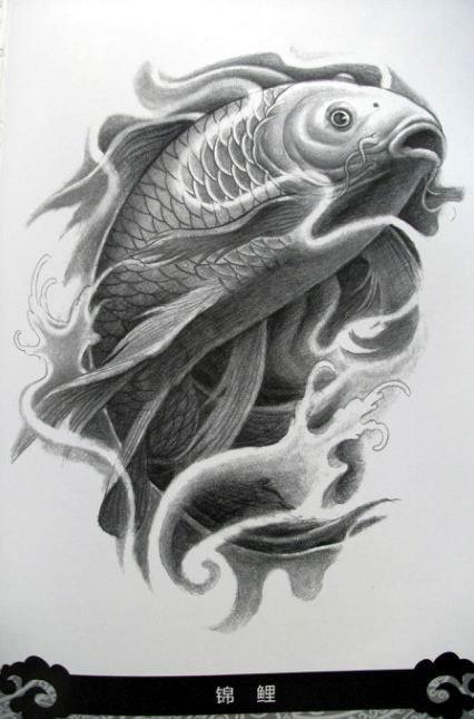 国内资讯_一款传统鱼文身文身图案由武汉刺青网提供