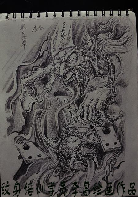 黑白无常素描作品由武汉老兵刺青学校学员制作图片