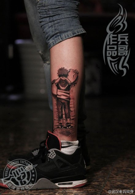 武汉最好纹身店打造的火影忍者纹身--我爱罗纹身