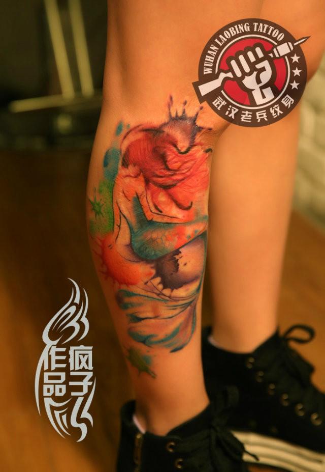 武汉最好纹身店打造的疤痕遮盖--美人鱼纹身作品图片