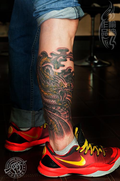 武汉最好纹身店打造的小腿龙纹身作品图片图片