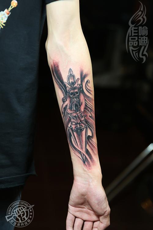 武汉专业纹身店打造的手臂降魔杵纹身作品