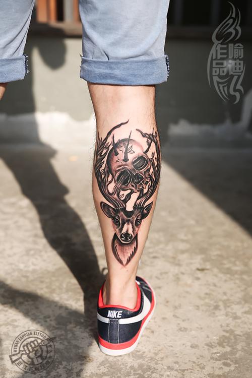 不动明王包小腿直播贴 纹身吧推荐小腿般若纹身图片图片