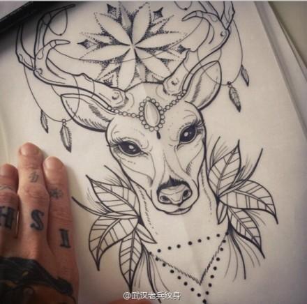 武汉纹身店提供一款羚羊纹身手稿图案大全