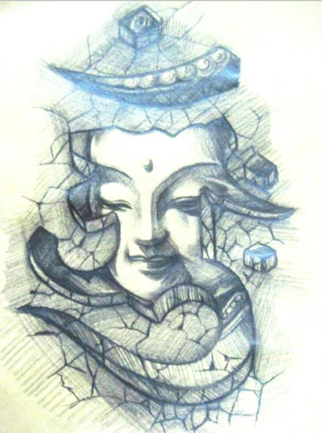 头部个性3d纹身手稿图案由武汉