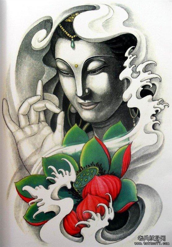 武汉最好的纹身店提供一款观音纹身手稿图案