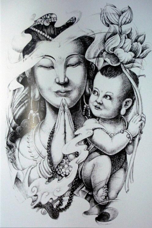 观音菩萨的纹身图片欣赏和纹身手稿