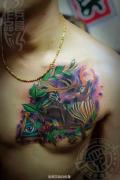 武汉最好纹身店打造的遮盖旧图--SCHOOL鹿纹身作品
