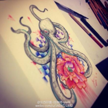 彩色章鱼玫瑰花纹身手稿图片
