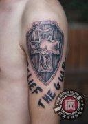武汉最好纹身店打造的盾牌耶稣纹身作品