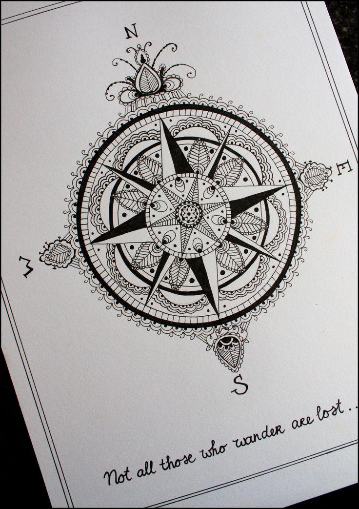 武汉纹身店推荐一款指南针纹身手稿图片高清图片